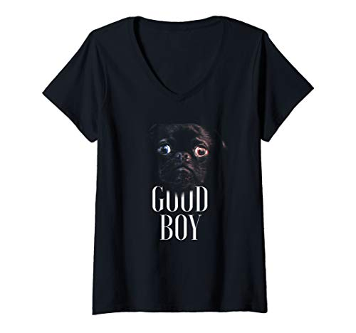 Womens Dog Face Good Boy Costume Cute Easy Dog Halloween Gift V-Neck T-Shirt