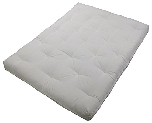 Epic Furnishings Au Natural 8' Loft All Cotton Filled Futon Mattress, King-size, Twill Natural Off-White Mattress Color