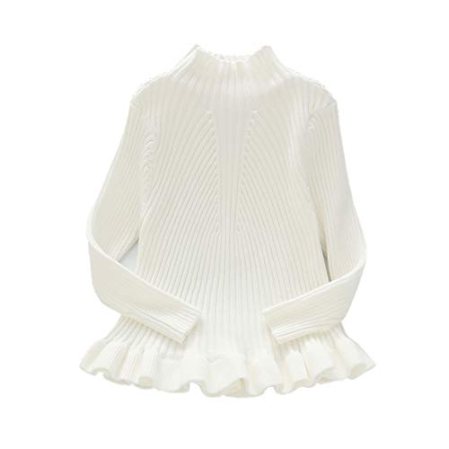Girls Pullover Sweater Kid Solid Cable Knit Sweatshirt White 110 ()