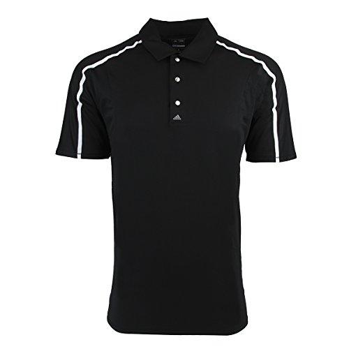 adidas Golf Men's PUREMOTION Tour climacool Raglan Flex Rib Polo Shirt, Black/White, Medium