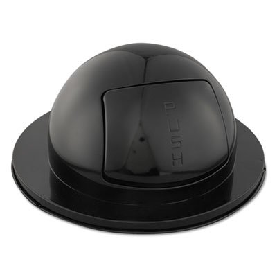 Domed Drum Lid - Rubbermaid Commercial Domed Drum Lid w/Push Door, Round, 24 1/2 x 12 1/4, Black - Includes one domed lid.