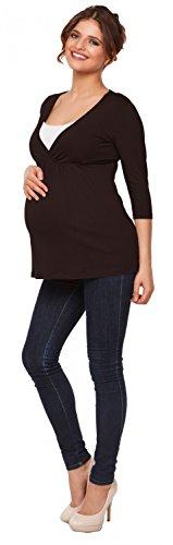 Happy Mama Premamá. Top Camiseta de lactancia efecto 2 en 1 - para mujer - 372p Chocolate