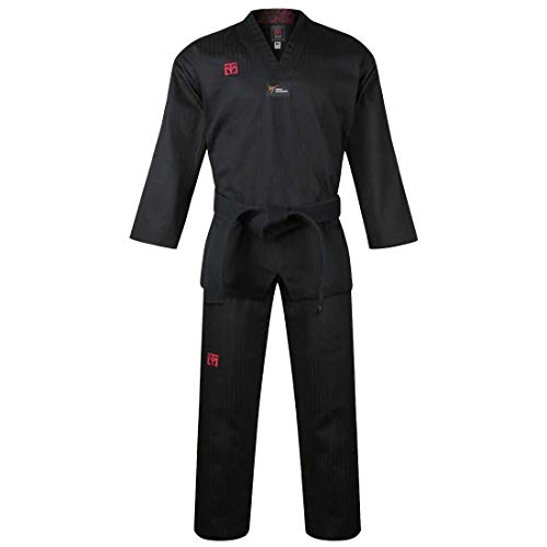 Mooto Korea Taekwondo BS4.5 Color Uniform 3 Colors(Black,Red,Blue) TKD MMA Martial Arts Karate Hapkido Judo JIU-Jitsu (130(Height:130~139cm)(4.27~4.56ft), 1.Black)