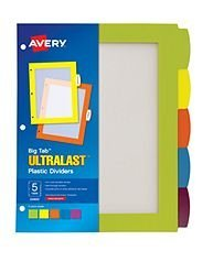 Avery 24900 Big Tab Ultralast Plastic Dividers Multicolor 5-Tab 8 1/2 x 11 AVERY-DENNISON