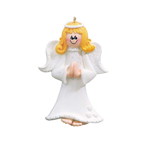 Personalized Blonde Angel Christmas Tree Ornament 2019 - Yellow Hair Female Prayer White Dress Glitter Wings Religious Heart Star Halo Choir Memorial Remembrance Heaven - Free Customization