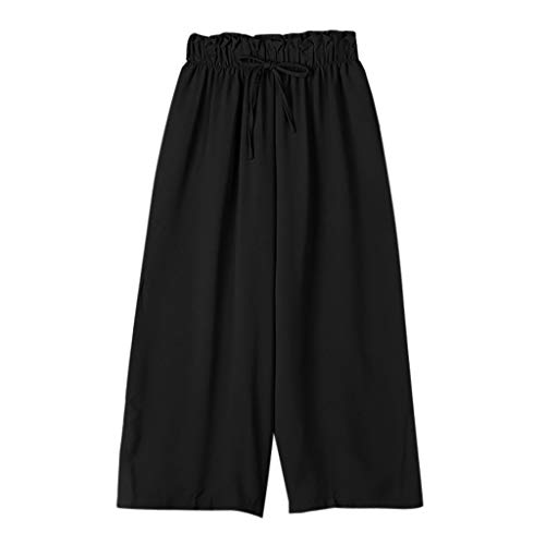 JOFOW Wide Leg Pants Womens Solid Ruffle Loose Comfy Swing Strappy Tie Drawstring High Waist Casual Elegant Long Trousers (L,Black)