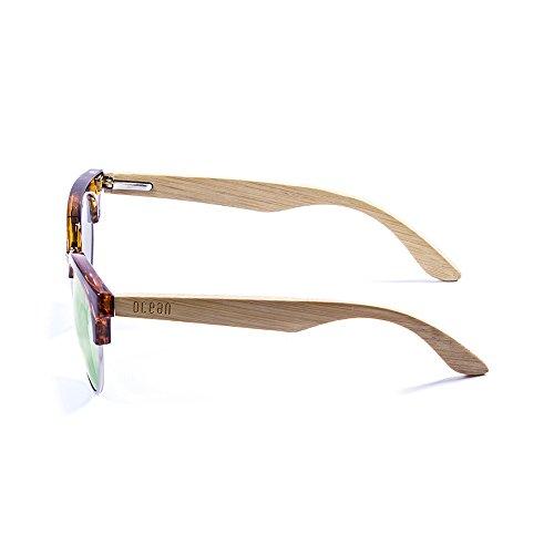 Ocean Sunglasses Medano Lunettes de Soleil Mixte Adulte, Demy Brown Frame/Wood Natural Arms/Revo Green Lens