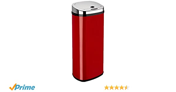 Dihl - Papelera con sensor (50 L, rectangular), color rojo: Amazon.es: Hogar