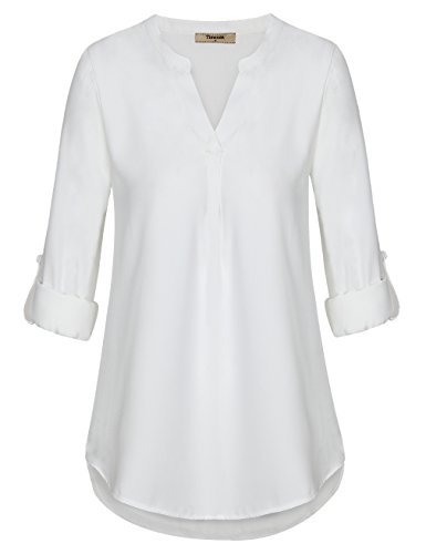 Timeson Blouse for Work,White Blouses, Women's Casual Chiffon V Neck Cuffed Sleeve Blouse Tops (Medium, (Cuffed Sleeve Top)