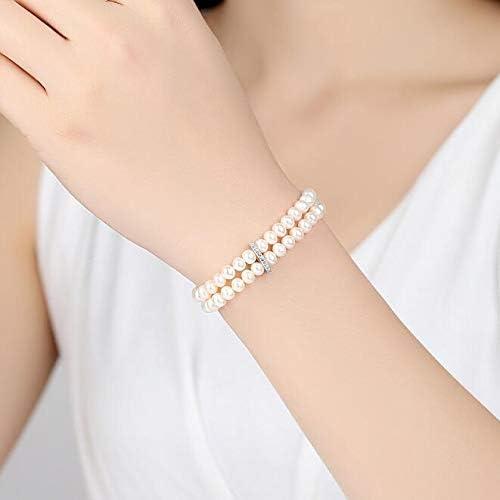 FINLN Dos hileras de Pulseras de Perlas pequeñas Reales, Pulseras de Plata de Ley con Doble Cadena para Mujeres, Joyas exquisitas