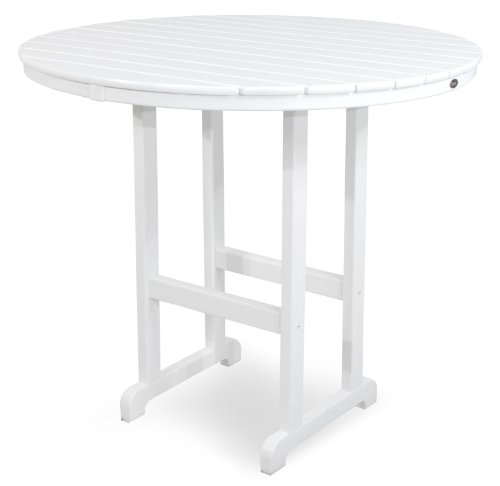 Trex Outdoor Furniture TXRBT248CW Monterey Bay Round Bar Table, 48-Inch, Classic White by Trex Outdoor Furniture