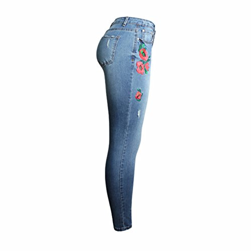 Pants Bordado Lvguang lápiz Pantalones Denim Straight Azul Casual Elásticos Mujer Pantalones Jeans 00AYqawC