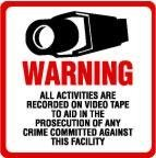 SECURITY SIGN – #204 One (1) Commercial Grade Outdoor/Indoor Security Surveillance CCTV Video Warning! Sign #204