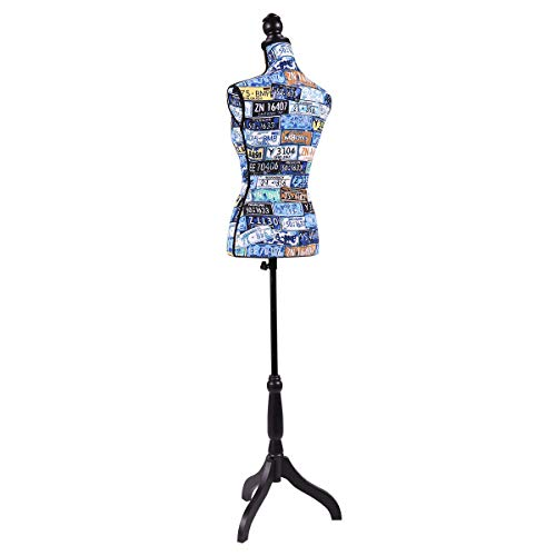 Colorful Female Mannequin Torso Dress Form Display with Tripod Stand Designer Pattern Sweaters, T-Shirts, Jackets, Dresses, Blouses, Tops and -