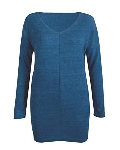 Hx Elegante Camicia Baggy V Shirts Tops A Camicetta Maglioni Blusa Ragazza Monocromo Autunno Casual Donna Primaverile Lunghe Neck Chic Hellblau Fashion Maniche rtWnAvqwBr