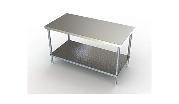 Aero - Mesa de trabajo con estante inferior (acero inoxidable, 24 ...