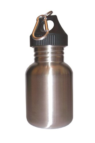 Silver 12oz Wide Mouth Stainless Steel Reusable Water Bottle W Hiking Clip