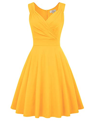 Vintage Cocktail Dress Summer A-line Swing Dress Size S Yellow CL698-8