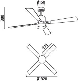 Faro Barcelona 33470 - PALK Ventilador de techo con luz Niquel satinado 4 palas diametro 1320 mm con mando a distancia Motor DC de bajo consumo: Amazon.es: Iluminación