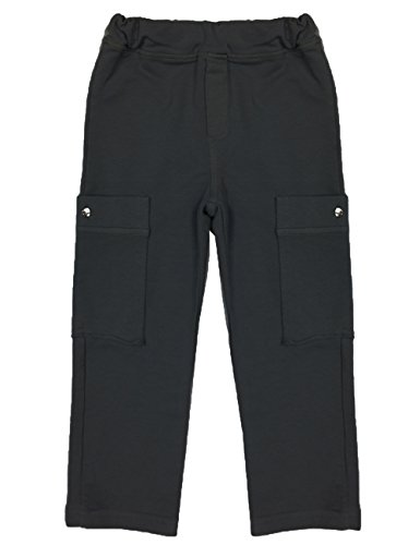 Nano Baby French Terry Stretch Cotton Knit Cargo Pants, Black, 24M