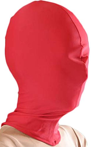 VSVO Lycra Spandex Full Cover Zentai Hood Mask Halloween Accessories (Adults, Red) (Halloween Accessories)