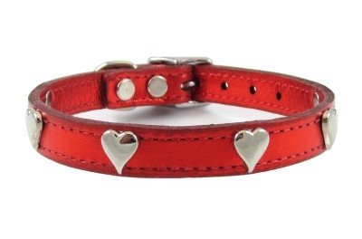 Hearts Leather Dog Collar by Furry (Metallic Red, 14 )