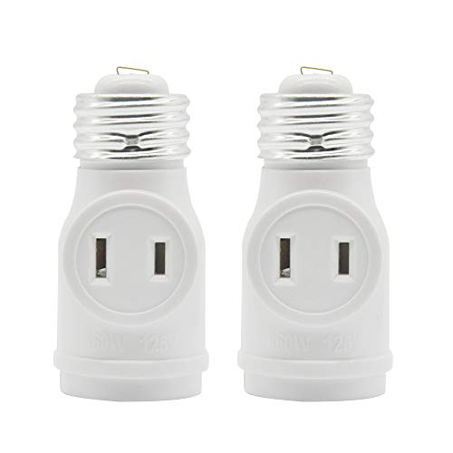 2 Outlet Light Socket Adapter, E26 Bulb Socket to