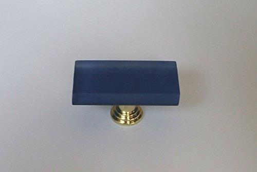 "Vine Designs VD-VCFK-Blue-PG Frosted Glass Knob with Polished Gold Base, 1"" x 2"""
