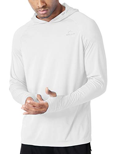 Willit Men's UPF 50+ Sun Protection Hoodie T-Shirt Long Sleeve SPF Shirt White XL