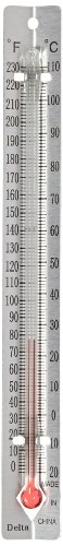 Delta Education V-Back Metal Thermometers - Fahrenheit/Celsius Dual Scale - Pack of 30