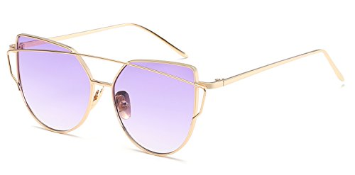MPSTG Unisex Classic Aviator Driving Polarized Sunglasses Retro Round Glasses UV Protection Classic Goggles for Men Women Round Retro Aviator Sunglasses-Gold Frame Gradually White Violet