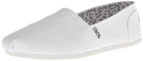 BOBS from Skechers Women's Plush-Peace and Love Flat, White, 6 W US ()