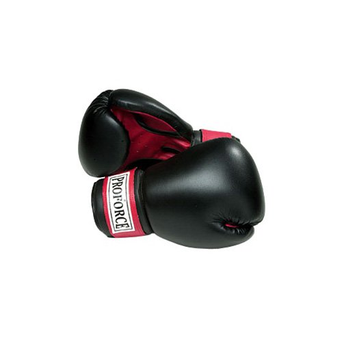 ProForce Leatherette Boxing Gloves - Black with Red Palm - Black - 12 oz.
