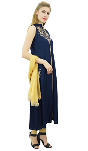 mit Rayon Set Ethnic Frauen Dupatta und Anzug Atasi Indian bestickt Beige Marineblau 1Yxfqn4w