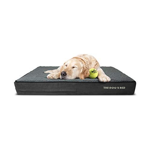 The Dog's Bed Orthopedic Dog Bed XL Grey Plush 46x28, Premium Memory Foam, Pain Relief for Arthritis, Hip & Elbow Dysplasia, Post Surgery, Lameness, Supportive, Calming, Waterproof Washable Cover