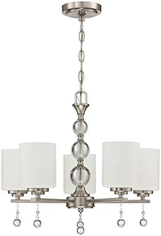 Doraimi Lighting Classic Industrial 5 Light Contemporary K9 Crystal Chandeliers Brushed Nickel Modern Light