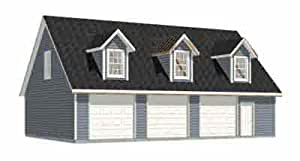 Garage plans three car garage with loft apartment rafter for Plan de garage avec loft