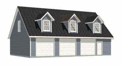 Garage Plans: Three Car Garage With Loft Apartment (rafter version ...