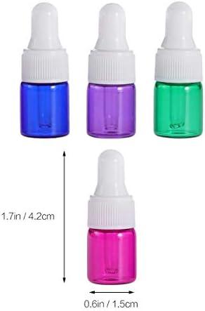 Healifty 2ml ätherisches Öl Glasflasche mit Pipette zufällige Farbe 15pcs (weiße Kappe)