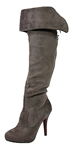 Heel Size Ladies Style High 3 Knee Womens Boots Style Low Calf Flat new Winter Grey Over 9 8 Biker Riding Ox0qgO4