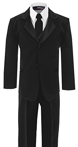 Gino Giovanni Boys Usher with Tie Tuxedo Suit Tux Set Black From Baby to Teen