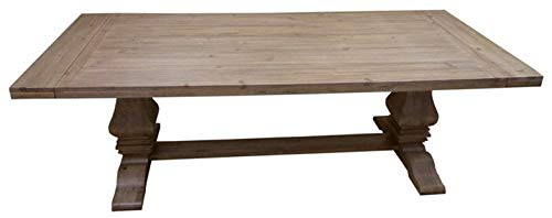 Florence Rectangular Double Pedestal Dining Table Rustic Smoke
