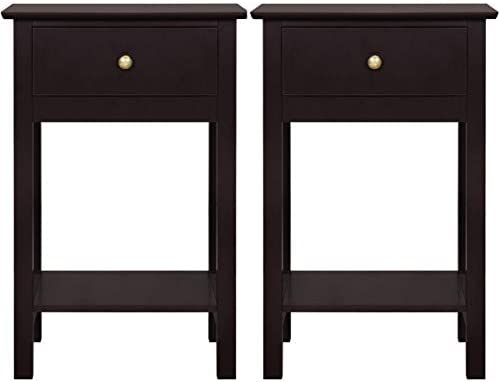 PXX Retro Bedside Table Set of 2 Wooden Bedside Cabinet with Drawer Nightstand Storage Unit End Table Side Table Corner Table for Bedroom Furniture ,White 1 Drawer,White 1 Drawer White 2 Drawers