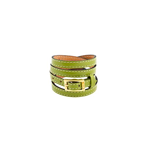 LALÉ Woman wrap Genuine laether Bracelet | Twists Four Times Around The Wrist | Ironwork Plated in Gold Buckle for Closure | Adjustable Size | Handmade Jewelry (Green, 7.5) (Buckle Around Wrap)