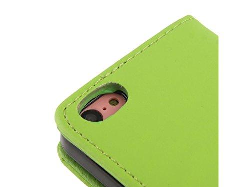 Apple iPhone Case 5c Wallet, Fone-STUFF® - PU cuir, Flip Horizontal, Porte-cartes Housse de protection en vert (Comprend protecteur d'écran)