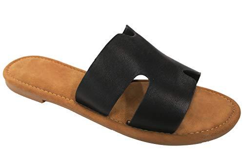 Top Cool Trendy Easter Basket Stuffer Gift Idea Greek Boho Sandal Flip Flop for Sale Women Teen Girls (Black Size 7) ()