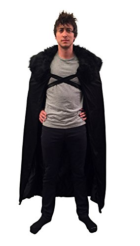Game of Thrones Costume Cosplay Cloak GoT Adult Mens Costume OSFM (Black fur)