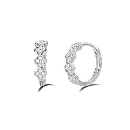 (Carleen White Gold Plated 925 Sterling Silver Round Cut Cubic Zirconia CZ Huggie Hoop Earrings For Women Girls, 12mm)