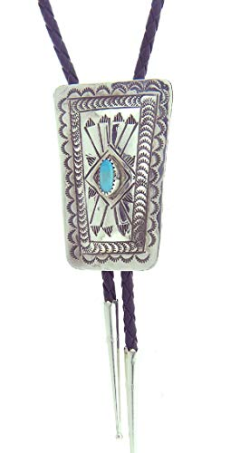 Rich Peel Carson Blackgoat Made in USA by Navajo Artisan Sterling Silver Bolo Tie
