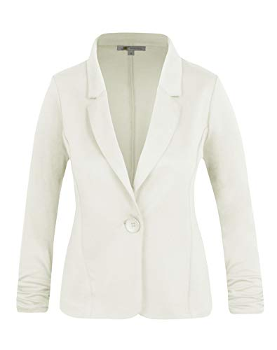 Michel Women's Casual Work Office Blazer Solid Color Single Button Up Jackets Offwhite Large